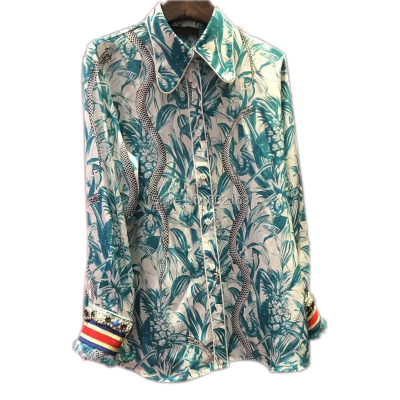 Long Sleeve Blouse With Pattern For Women 2016 Spring Style Turn-down Collar Brand Ladies Blouses and Tops Shirt