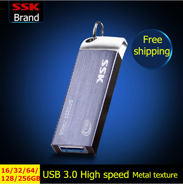 SSK SFD223 USB 3.0 Flash Drive 100% 256GB 128GB 64GB 32GB 16GB Pen Drive Metal High-Speed Waterproof Usb Stick Free shipping(China (Mainland))