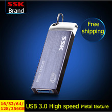 SSK SFD223 USB 3.0 Flash Drive 100% 256GB 128GB 64GB 32GB 16GB Pen Drive Metal High-Speed Waterproof Usb Stick Free shipping