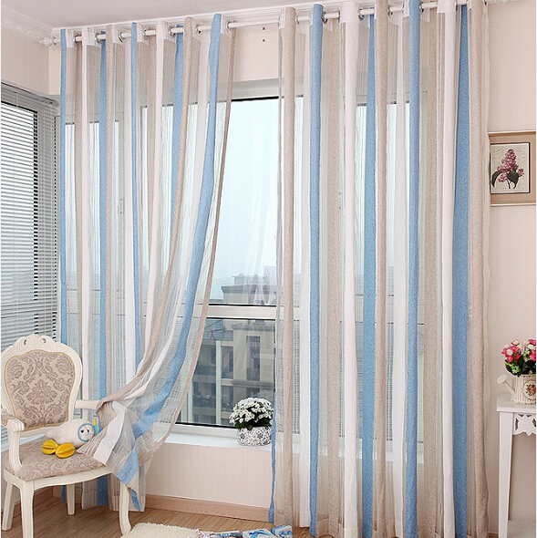 High quality window screens sky blue rose red striped chenille curtain yarn decorative tulle for living room(China (Mainland))
