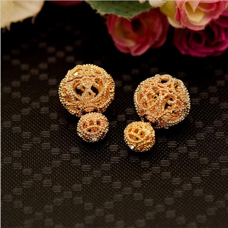 Luxury Ajojewel Brand Fashion American European Hollow Designer 2016 Double Sided Earring Ball Female Jewelry(China (Mainland))