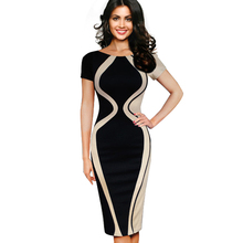 Casual Women Colorblock Contrast Short Sleeve Office Business Career Sheath Pencil Bodycon Stretch Patchwork Summer Dresses B315(China (Mainland))