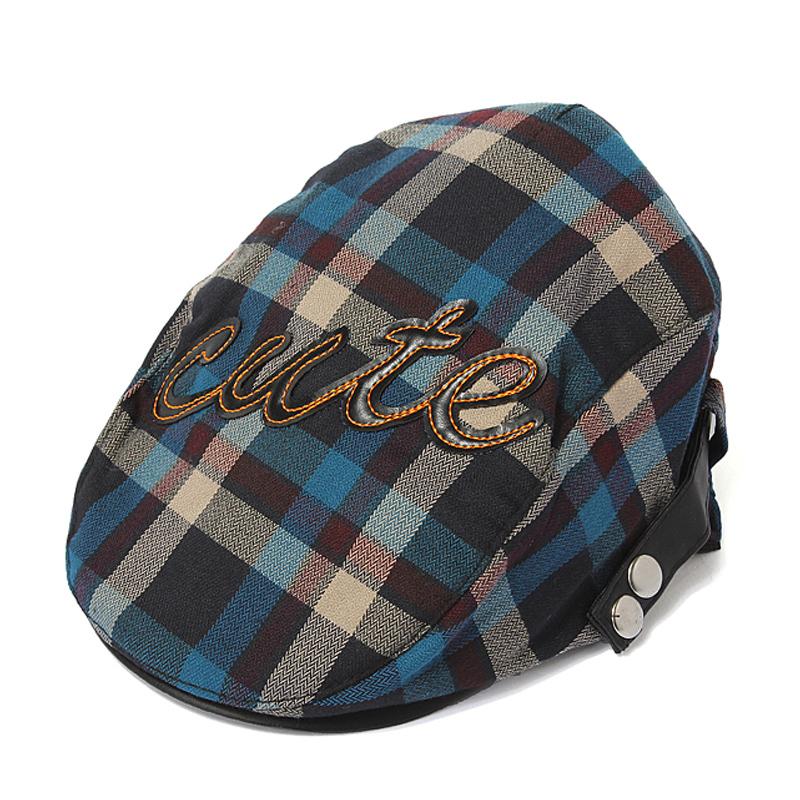 Fashion Baby Infant Kid Boy Baseball Plaid Beret Cap Check Cabbie Pageboy Newsboy Peaked Hat(China (Mainland))