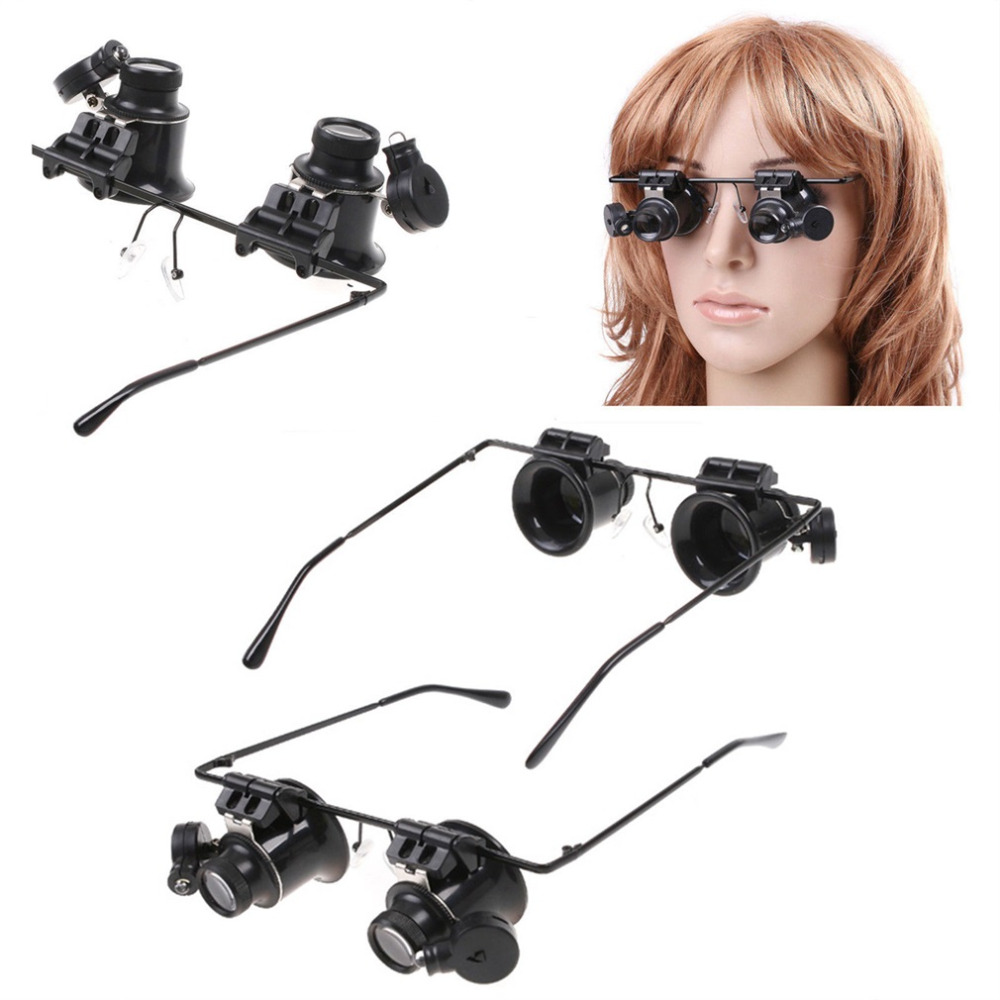 New Design Fishing Eyewear Binocular Glasses Type 20X Watch Repair Magnifier with LED Light for outdoor fishing drop shipping(China (Mainland))