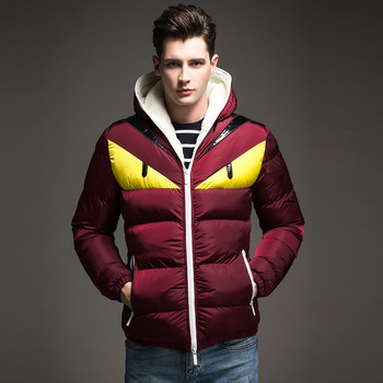 2016 winter men's slim down jacket cotton patted contrast color down jacket thick hooded cotton jacket free shipping