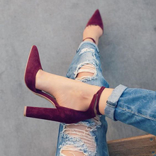 2017 spring new women shoes basic style retro fashion high heels pointed toe office & career shallow footwear women pumps(China (Mainland))