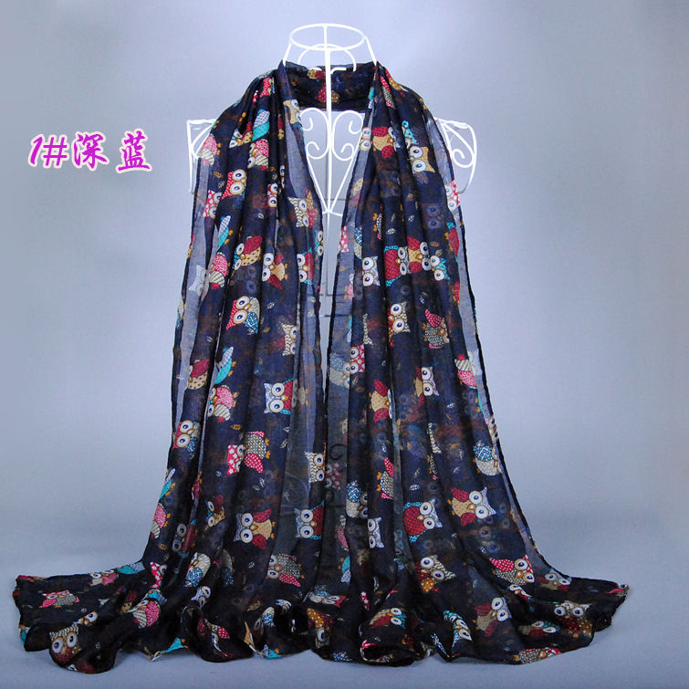 Brand Scarf 2014 fall fashion women scarves animal printed owl scarf cute scarf owl with branch voile long shawl navy blue(China (Mainland))