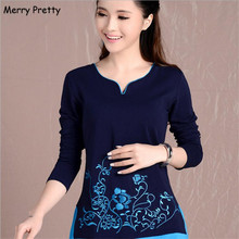 Merry Pretty new women blouses shirts long sleeve v-neck floral embroidery cotton tops vintage female blouse plus size 4XL top