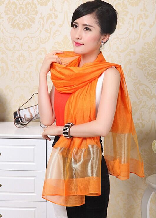 Hot Sale Classic Silk Scarves Orange Ladies' Chiffon Scarf Chinese Style Shawl Mujeres Bufanda Chal Size 70 x 190cm WS021-C(China (Mainland))