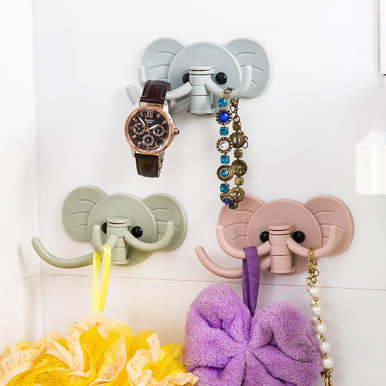 Cute Elephant Plastic Decorative Key Holder Wall Shelf Rack Hook Home Storage Organizer Bathroom Kitchen Accessories(China (Mainland))