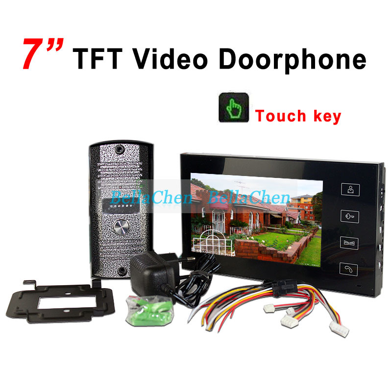 Home Security 7 Inch TFT Touch Screen Color Monitor Video Door Phone Doorbell Intercom system Night Vision Eye Camera Doorphone(China (Mainland))