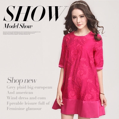 8811 summer women's fashion short-sleeve o-neck embroidered loose plus size clothing casual a-line ladies cotton dresses Genuine(China (Mainland))