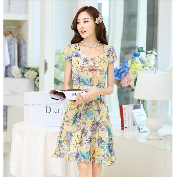 2015 summer print one-piece graceful dress plus size 3XL women medium-long chiffon flora LZD80