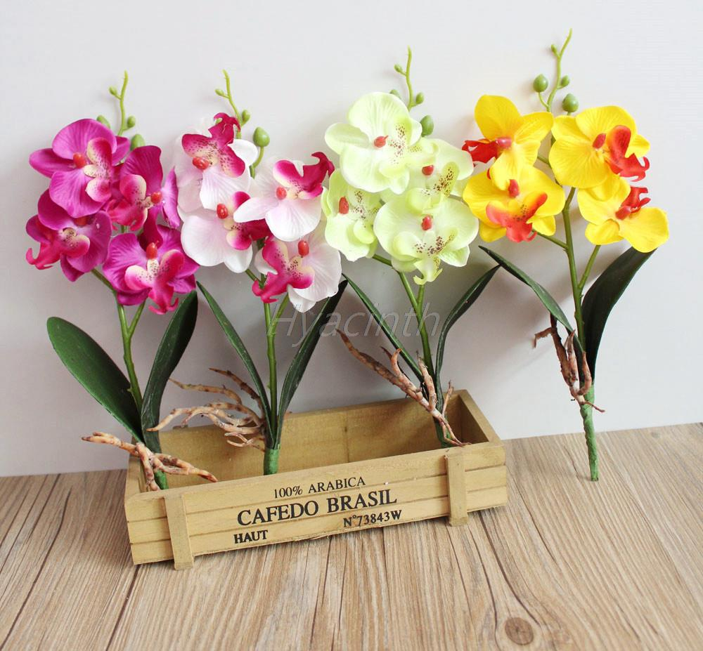 Three/Four flower Head Artificial Butterfly Orchid Silk decorative flower artificial flowers Home Wedding Decor 7 colors