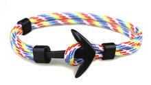 Plata/Negro aleación ancla pulsera Multilayer cadena cuerda Paracord pulsera para las mujeres hombres regalos de estilo marino(China)