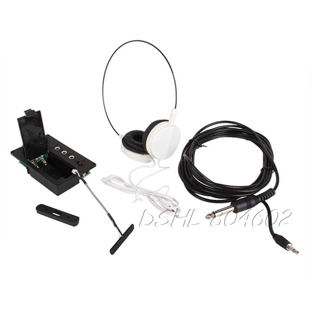 Electric Violin Silent EQ Pickup Piezo with Headphone and Plug Hole Cable Set  <br><br>Aliexpress