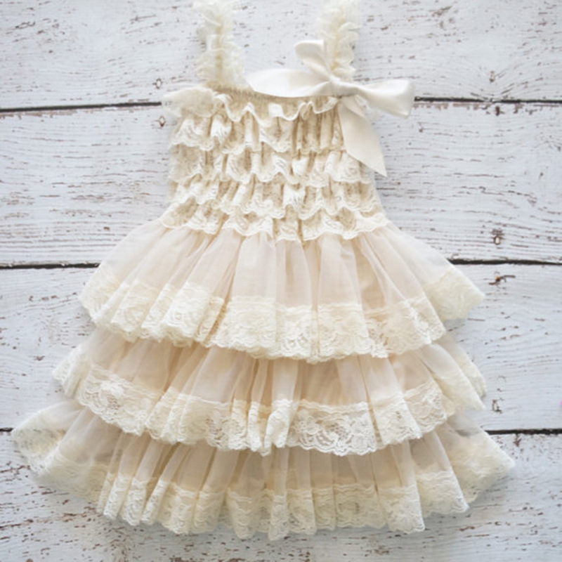 Vintage Ivory Pink White Green Flower Girl Lace Dress