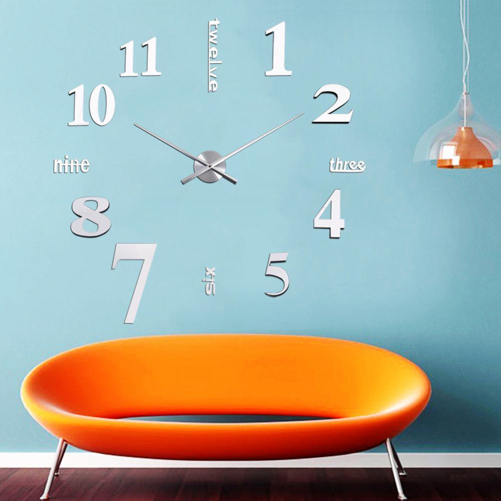 Fashion DIY Digital Large Wall Clock Big Watch Home Decor Unique Gift Tyrant silver digital 3D Mirror Sticker - gadget the world store