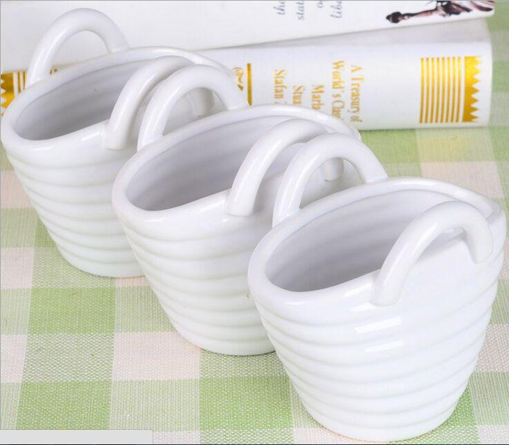 Modern minimalist ceramic flower baskets white water ripple flower vase insert European home decorator wedding gifts(China (Mainland))