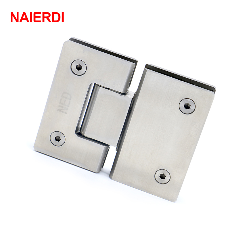 NAIERDI-4904 180 Degree Hinge Open 304 Stainless Steel Wall Mount Glass Shower Door Hinges For Home Bathroom Furniture Hardware(China (Mainland))