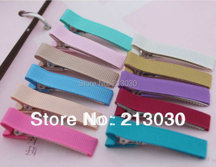 DIY 4.5cm Hair Claps Barrettes with ribbon around Basic Hair Accessories for Children Headwear Jewelry 50pcs/lot(China (Mainland))