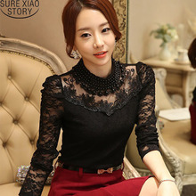 Buy 2016 Sexy Lace Tops Autumn blusas new Slim Plus size lace blouse long sleeve Casual shirt beaded openwork Women clothing 800B 25 for $10.19 in AliExpress store