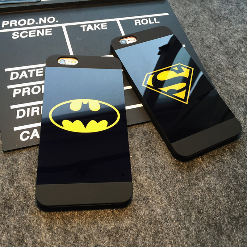 Business Style Superman Batman Diamond Back Cover Couples PC Hard Frosted Mirror Phone Case For iPhone 5 5S SE 6 Plus 6s Plus(China (Mainland))