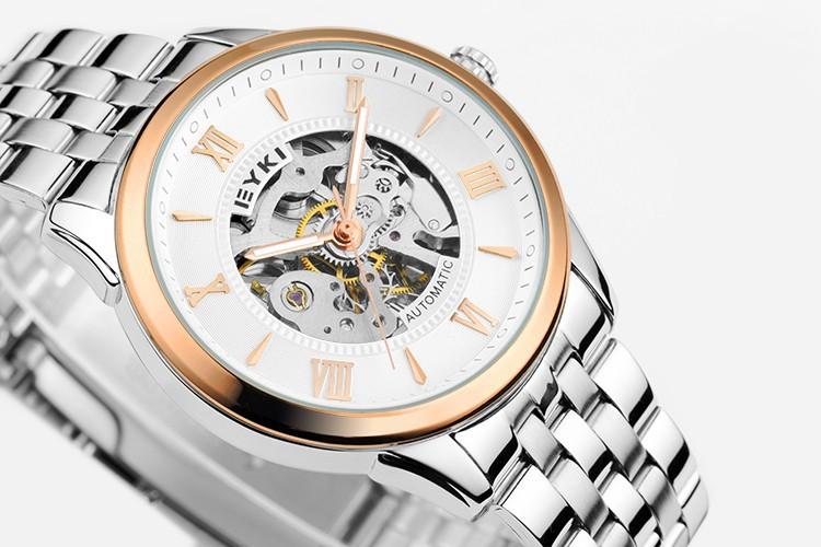 Марка EYKI Роман отдых и деловые мужчины часы механические часы обратно через полый ретро
