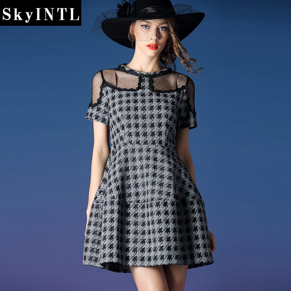 For Easter Day! plaid print slim spring women's one-piece dress spring and autumn women's boutique(China (Mainland))