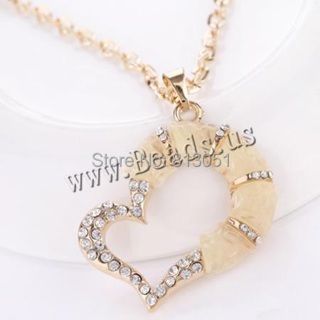 Free shipping!!!Zinc Alloy Sweater Chain Necklace,Vintage, with Resin, Heart, gold color plated<br><br>Aliexpress