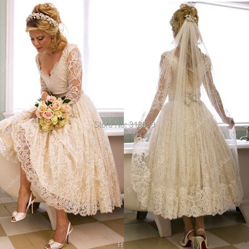custom made v neck long sleeve dresses bridal gown ankle ForAnkle Length Wedding Dress With Sleeves