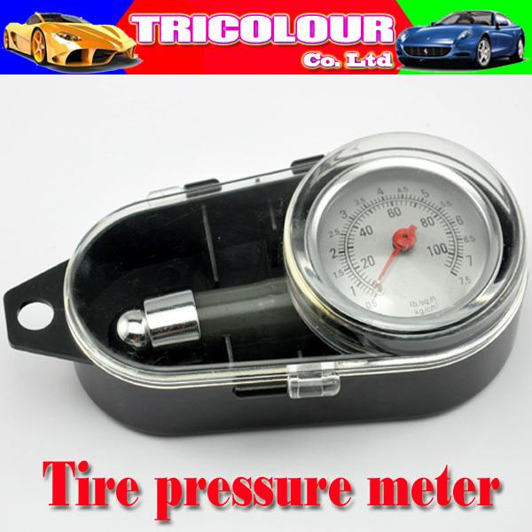 HK POST FREE!!! + Car Dial Tire Gauge Meter Precision Pressure Tyre Testing Measure Metal 10pcs/lot #LQ147(China (Mainland))