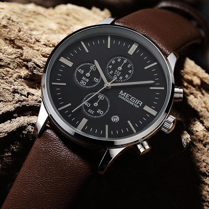 2016 new military stylish MEGIR brand design fashion chronograph men male clock sport leather business luxury wrist watch gift(China (Mainland))