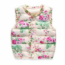 High Quality Girls Vests 2016 New Children's Down Cotton Warm Vest Baby Girls Sweet Floral Waistcoat Kids Vest Outerwear(China (Mainland))