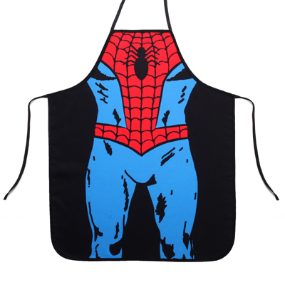 Special Novelty Men Personality Superman Spiderman Kitchen Cooking Party Dress Fun lovers Man Waterproof Apron funny gift(China (Mainland))
