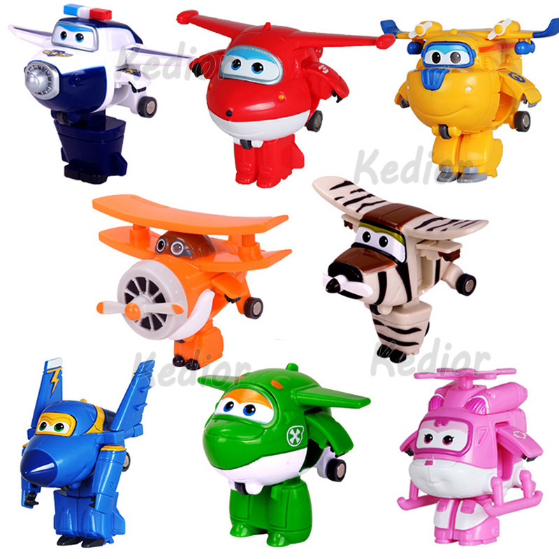 8pcs /Set Super Wings Mini Airplane Robot Baby Toys Action Figures Super Wing Transformation Helicopter for Children Kids Gift(China (Mainland))
