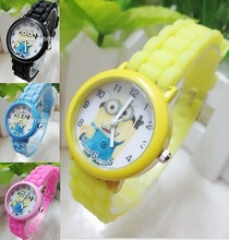 2015 New Fashion cute cartoon Children casual watch Despicable Me Minions quartz sport wristwatch 1pcs
