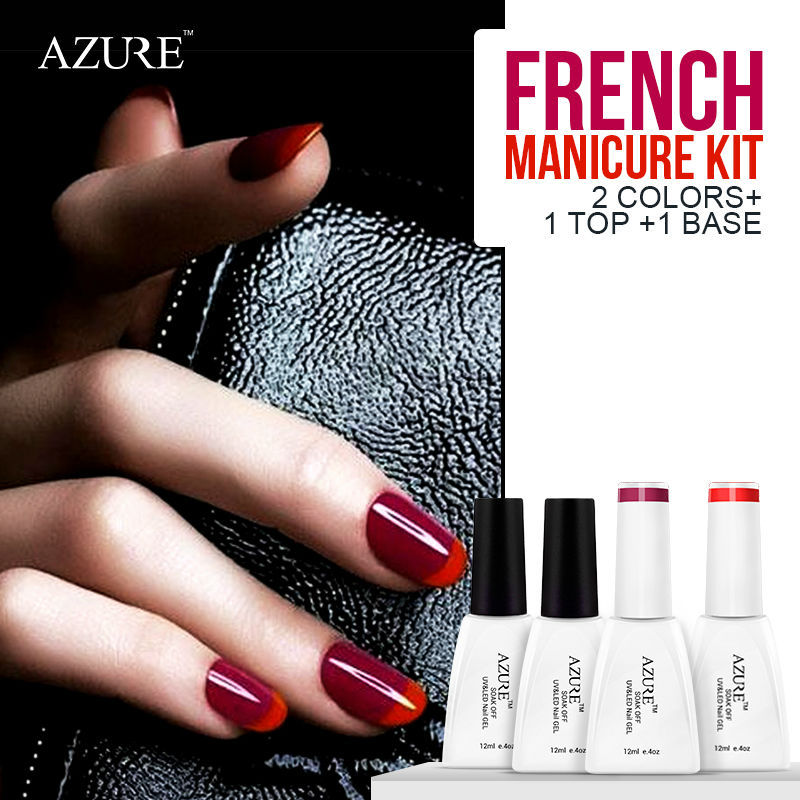 2015 Spring French color gel sparkle French manicure purple UV gel polish & red nail gel base top coat French style 4 pcs/lot(China (Mainland))