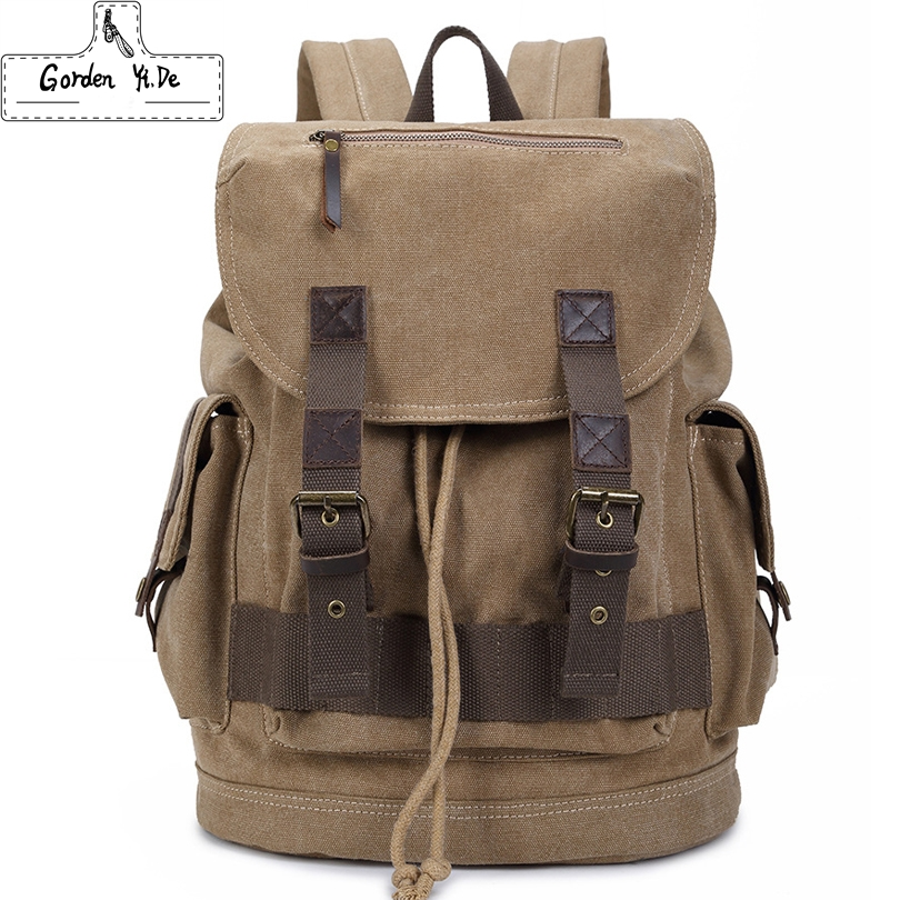 Backpacks Men Canvas With Genuine Leather Male Travel Bag Vintage School Bags Casual Daypack Mochila 2016 New PT0284(China (Mainland))
