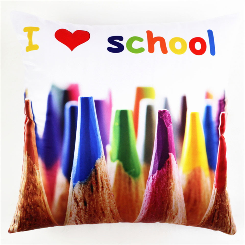 New design creative Colorful Crayons Printing coffee shop Cushion Cover Home Decor Sofa Throw Pillow Case high quality(China (Mainland))