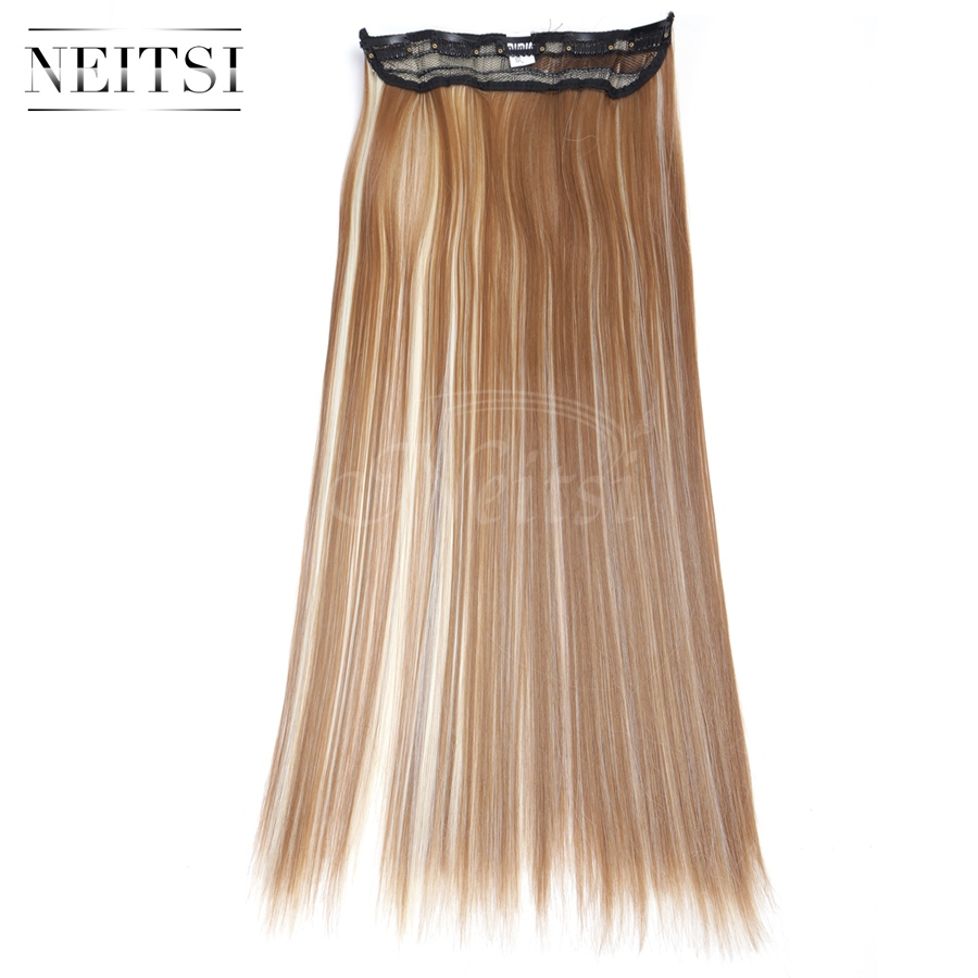 """Neitsi 22"""" F27/613# 5Clips Synthetic Clip In On Hair Extensions Straight Long Braiding Hairpiece For Black Women Fast Shipping(China (Mainland))"""