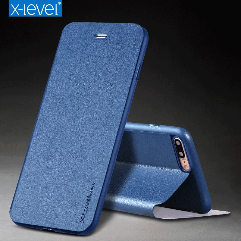 X-Level Business Style PU Leather Flip Phone Case for Apple iPhone 7 plus Luxury Stand Case Cover(China (Mainland))