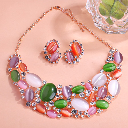 Colorful Noble Party Wedding Gemstone Opal Rhinestone Luxury Excellent Necklace Jewelry set Perfect Shiny Antique Knowledgeable <br><br>Aliexpress