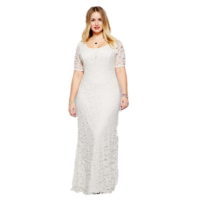 Plus Size White Lace Dress Short - Plus Size Prom Dresses