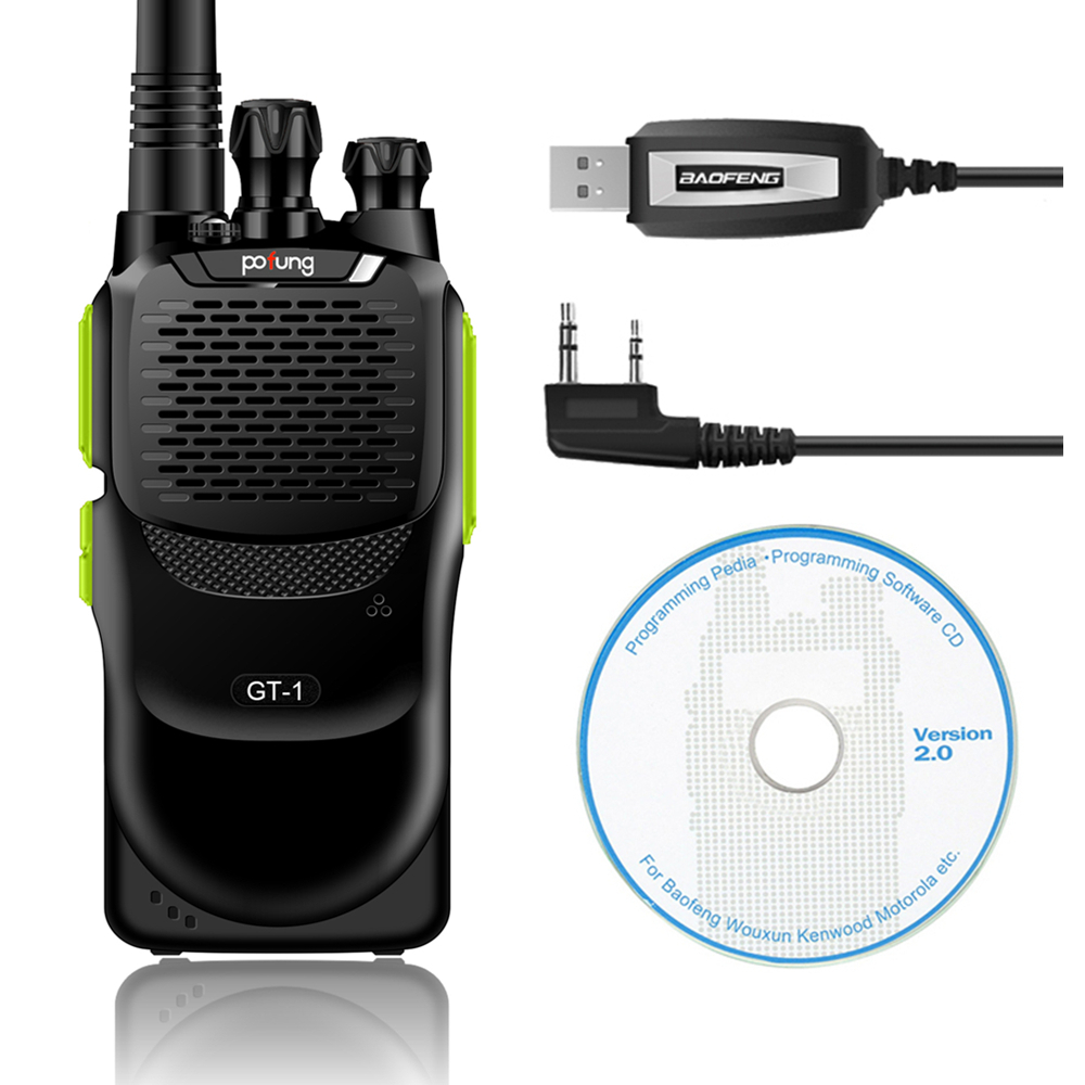Baofeng GT-1 UHF 400-470MHz 5W 16CH FM Two-way Ham Hand-held Radio Walkie Talkie Green+Programming Cable(China (Mainland))