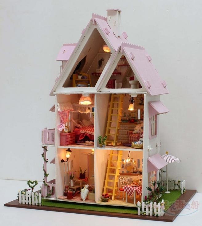 DIY Wooden Miniatura Hot Sunshine Alice Pink Doll House Furniture Handmade DIY052 3D Miniature Dollhouse Toys Gits(China (Mainland))