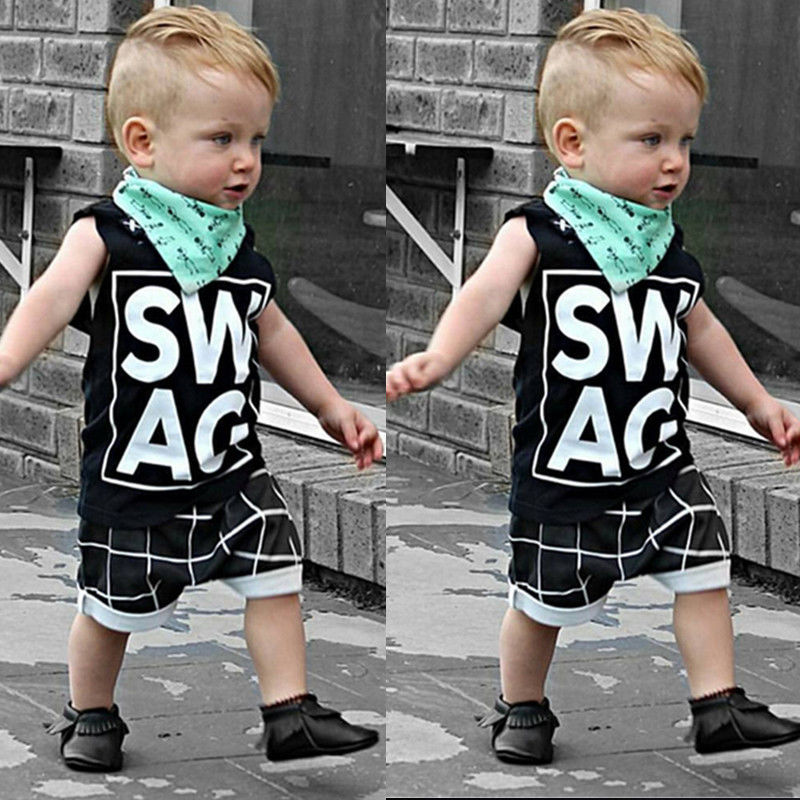 2pcs Set Summer Children clothes sets Kids Baby Boy Clothes T-shirt Tops+ Plaid shorts clothes Outfits Set Summer Wholesale(China (Mainland))