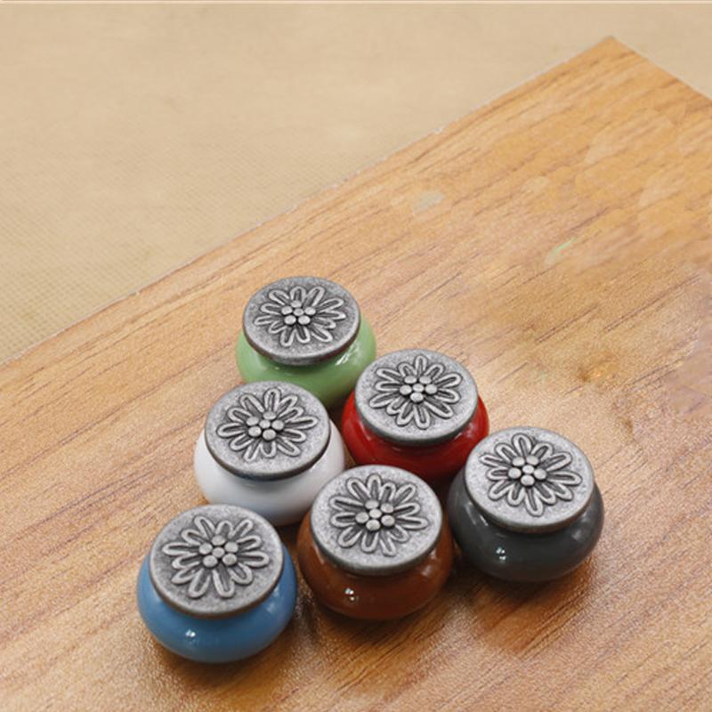1Pcs Single Hole Handle Ceramic Zinc Alloy Creative Flower Cabinet Drawer Wardrobe Door Knob Hardware Tool Hot Sale 2159(China (Mainland))