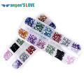 Mix 12 Color 2mm Circle Beads Nail Art Tips Rhinestones Glitters Acrylic UV Gel Gems Decoration