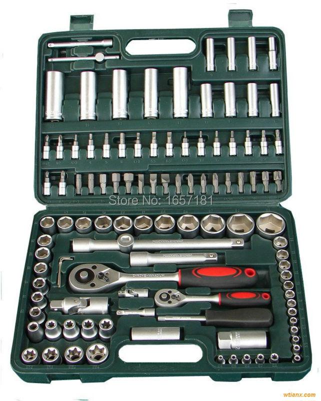 "108pcs socket set (1/4""&1/2"") car repair tools ratchet wrench spanner set hand tools combination tool kits auto tools 108(China (Mainland))"